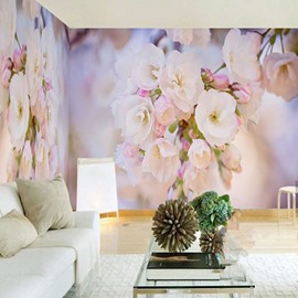 3D Pink and White Flowers Printed Sturdy Waterproof and Eco-friendly Wall Mural