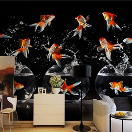 3D Golden Fishes and Fishbowls Printed Sturdy Waterproof and Eco-friendly Black Wall Mural