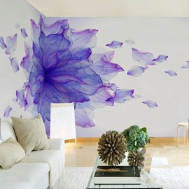 3D Purple Flower Oil Painting PVC Sturdy Waterproof and Eco-friendly White Wall Mural
