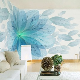 3D Blue Flower Printed Sturdy Waterproof and Eco-friendly Wall Mural