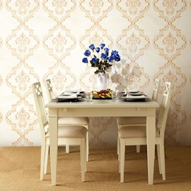 3D Beige Floral Pattern PVC Sturdy Waterproof Eco-friendly Self-Adhesive Wall Mural