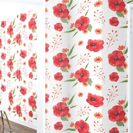 3D Red Flowers PVC Waterproof Sturdy Eco-friendly Self-Adhesive White Wall Murals