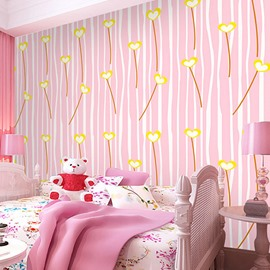 3D Pink Background Yellow Heart-Shaped Branches Sturdy Waterproof Eco-friendly Wall Mural