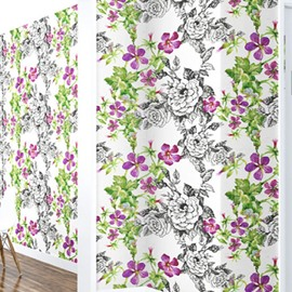 3D Flowers with Green Leaves Printed Sturdy Waterproof and Eco-friendly Wall Mural