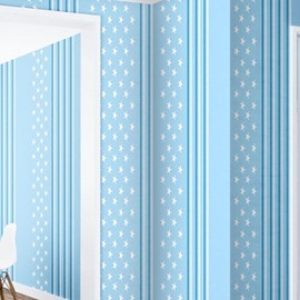 3D Blue Background with Five-pointed Stars Sturdy Waterproof and Eco-friendly Wall Mural