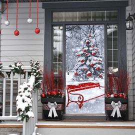 30×79in 3D Snowy Christmas Tree Printed PVC Environmental and Waterproof Door Mural