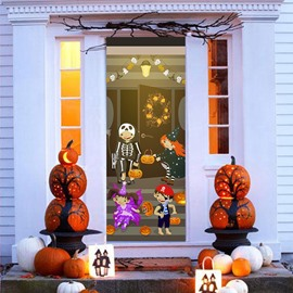 30×79in 3D Halloween Boys Girls Jack-o-lanterns PVC Environmental and Waterproof Door Mural