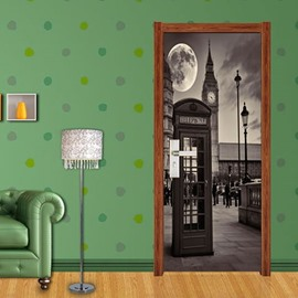 30×79in Gray Telephone Box Moon PVC Environmental Waterproof Self-Adhesive 3D Door Mural
