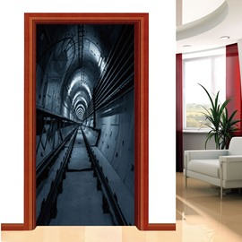 30×79in Tracks PVC Environmental Waterproof Self-Adhesive 3D Door Mural