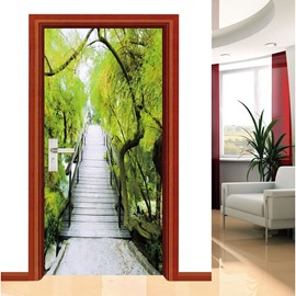 30×79in Wooden Bridge Trees PVC Environmental Waterproof Self-Adhesive 3D Door Mural