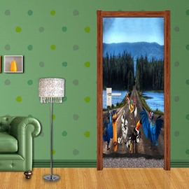 30×79in Road Trees Lake PVC Environmental Waterproof Self-Adhesive 3D Door Mural