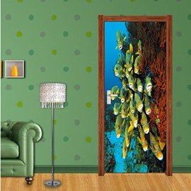 30×79in Fishes in Deep Sea PVC Environmental Waterproof Self-Adhesive 3D Door Mural