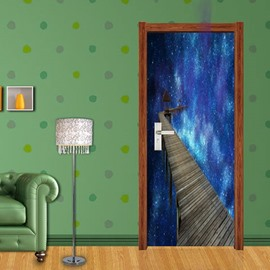 30×79in Blue Galaxy Sky Ladder PVC Environmental Waterproof Self-Adhesive 3D Door Mural