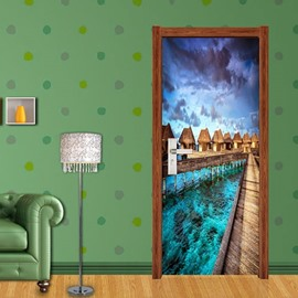 30×79in Lake Surrounding Architechtures PVC Environmental and Waterproof 3D Door Mural