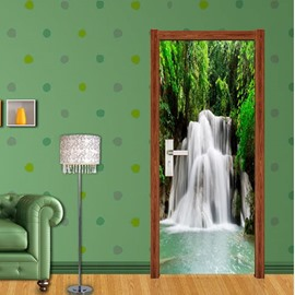 30×79in Waterfall in Forest PVC Environmental and Waterproof 3D Door Mural
