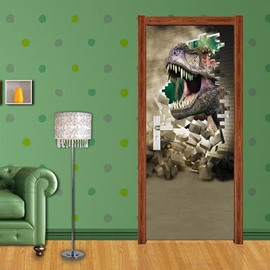 30×79in Roaring Dinosaur PVC Environmental and Waterproof 3D Door Mural