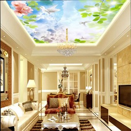 3D Clouds Dove Flower Waterproof Durable and Eco-friendly Ceiling Murals