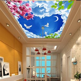 3D Blue Heart-Shaped Sky Pink Flowers Waterproof Durable Eco-friendly Ceiling Murals