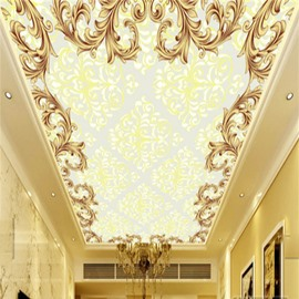 3D Golden Floral Pattern Waterproof Durable Eco-friendly Self-Adhesive Ceiling Murals