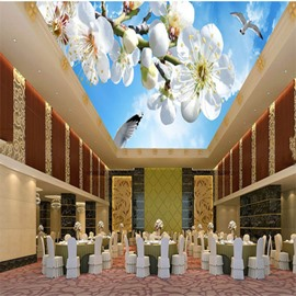 3D White Peach Flowers Pattern Waterproof Durable and Eco-friendly Ceiling Murals