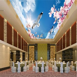 3D Doves Peach Flowers in Sky Waterproof Sturdy Eco-friendly Self-Adhesive Ceiling Murals
