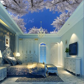 3D White Snowy Branches Printed Waterproof Durable and Eco-friendly Ceiling Murals