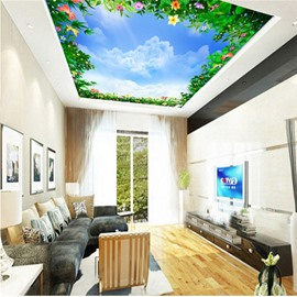 3D Green Plants under Blue Sky Waterproof Durable Eco-friendly Ceiling Murals