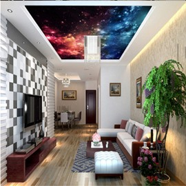 3D Yellow Blue Galaxy Printed Waterproof Durable and Eco-friendly Ceiling Murals