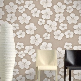 3D White Flowers Printed PVC Sturdy Waterproof Eco-friendly Self-Adhesive Wall Mural