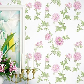 3D Pink Flowers Printed PVC Sturdy Waterproof Eco-friendly Self-Adhesive Wall Mural