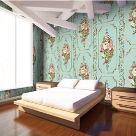 3D Floral Pattern PVC Sturdy Waterproof Eco-friendly Self-Adhesive Green Wall Mural