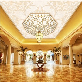 3D Golden Floral Outlines Printed PVC Waterproof Sturdy Eco-friendly Self-Adhesive Ceiling Murals