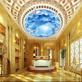 3D Blue Sky Printed PVC Waterproof Sturdy Eco-friendly Self-Adhesive Ceiling Murals