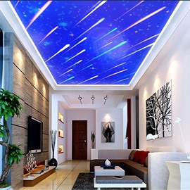 3D Blue Sky with Meteors PVC Waterproof Sturdy Eco-friendly Self-Adhesive Ceiling Murals