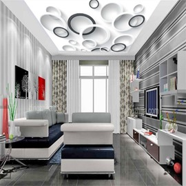 3D White Black Circles Printed PVC Waterproof Sturdy Eco-friendly Self-Adhesive Ceiling Murals