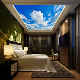 3D White Clouds in Sky Printed PVC Waterproof Sturdy Eco-friendly Self-Adhesive Ceiling Murals