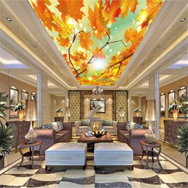 3D Yellow Leaves Sunshine Printed PVC Waterproof Sturdy Eco-friendly Self-Adhesive Ceiling Murals