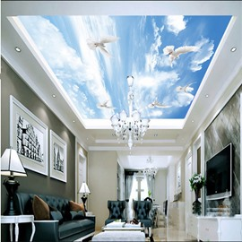 3D Doves Flying in Sky Printed PVC Waterproof Sturdy Eco-friendly Self-Adhesive Ceiling Murals