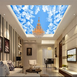 3D Clouds in Sky Printed PVC Waterproof Sturdy Eco-friendly Self-Adhesive Ceiling Murals