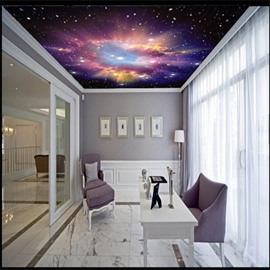3D Purple Galaxy Printed PVC Waterproof Sturdy Eco-friendly Self-Adhesive Ceiling Murals