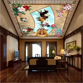 3D Flowers Horses Pattern PVC Waterproof Sturdy Eco-friendly Self-Adhesive Ceiling Murals
