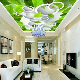 3D Green Leaves Pattern PVC Waterproof Sturdy Eco-friendly Self-Adhesive Ceiling Murals