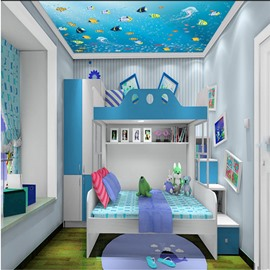 3D Fishes Swimming in Sea Printed PVC Waterproof Sturdy Eco-friendly Self-Adhesive Ceiling Murals