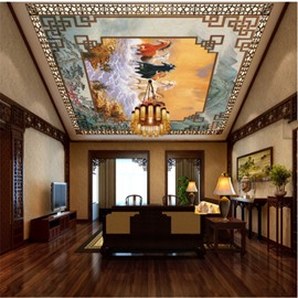 3D Running Horses Pattern PVC Waterproof Sturdy Eco-friendly Self-Adhesive Ceiling Murals