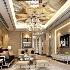 3D Beige Ceiling Pattern PVC Waterproof Sturdy Eco-friendly Self-Adhesive Ceiling Murals