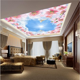 3D Pink Flowers under Sky PVC Waterproof Sturdy Eco-friendly Self-Adhesive Ceiling Murals