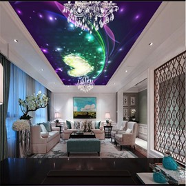 3D Purple Heart-shape Pattern PVC Waterproof Sturdy Eco-friendly Self-Adhesive Ceiling Murals
