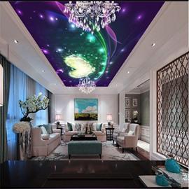 3D Purple Heart-shape Pattern PVC Waterproof Sturdy Eco-friendly Self-Adhesive Ceiling Murals