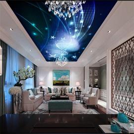 3D Blue Starfish Pattern PVC Waterproof Sturdy Eco-friendly Self-Adhesive Ceiling Murals