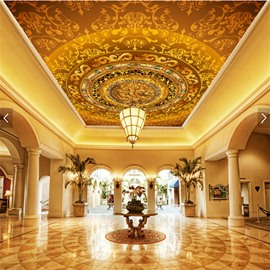 3D Golden Borders Background PVC Waterproof Sturdy Eco-friendly Self-Adhesive Ceiling Murals